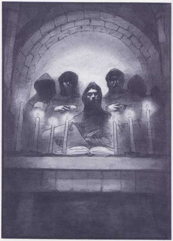 Mark Summers illustration of The Pit And The Pendulum by Edgar Allan Poe
