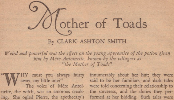 Mother Of Toads by Clark Ashton Smith