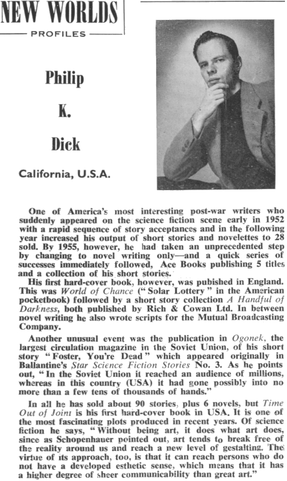Philip K. Dick profile from New Worlds Science Fiction #89, December 1959