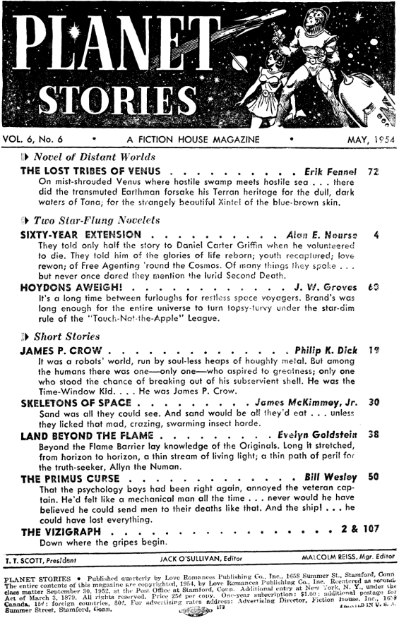 Planet Stories, May 1954 - table of contents (includes James P. Crow by Philip K. Dick)