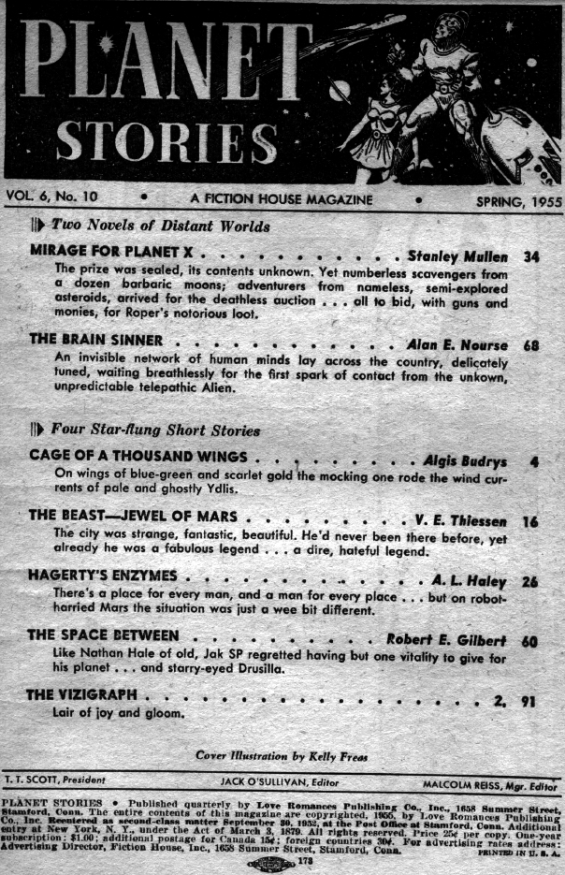 Planet Stories, Spring 1955 - table of contents