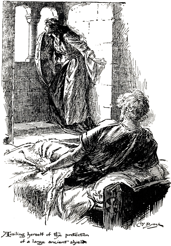 Rebecca and Ivanhoe - illustration by C.E. Brock (1905)