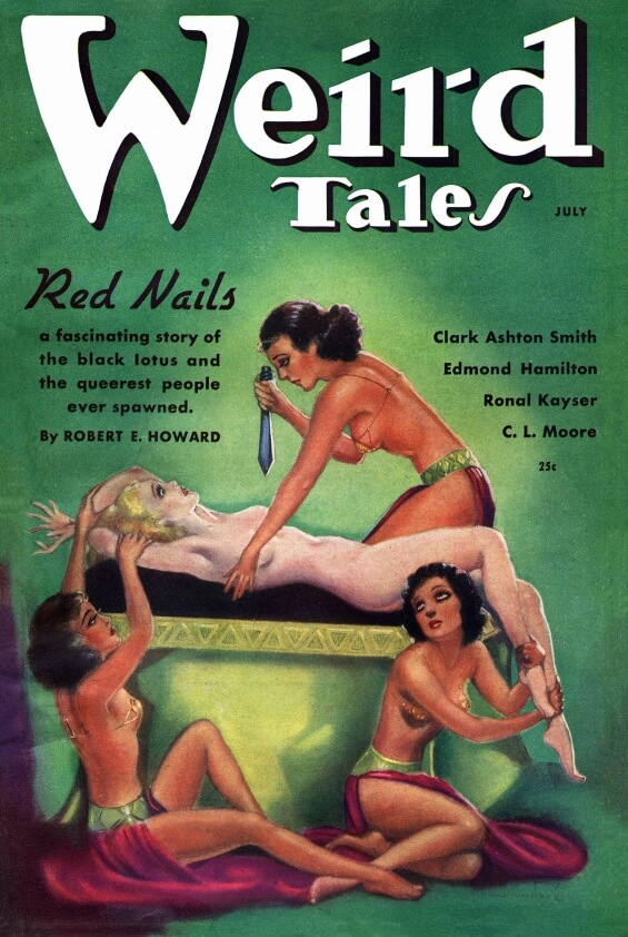 Red Nails illustration by Margaret Brundage from Weird Tales, July 1936
