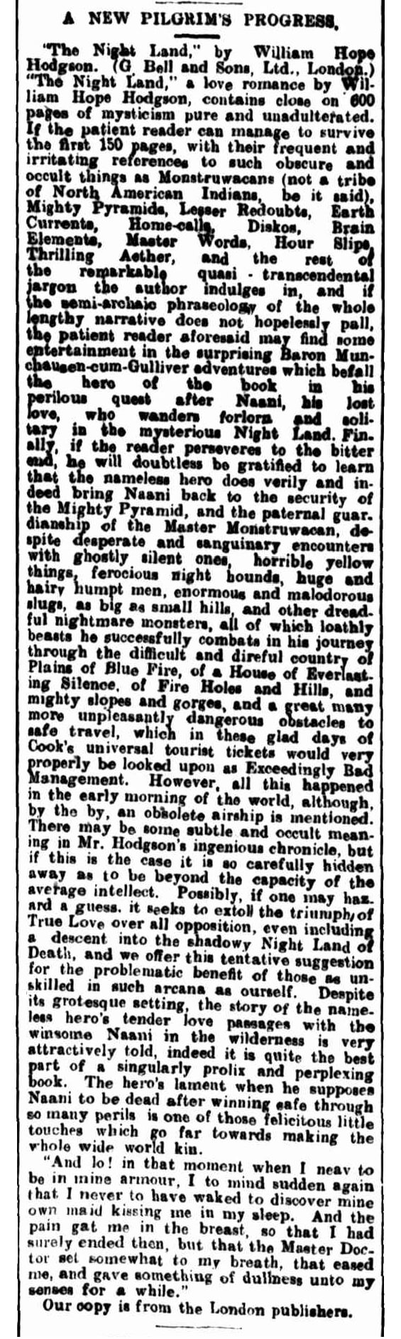 Review of The Night Land by William Hope Hodgson from the Western Mail (Perth), June 1, 1912
