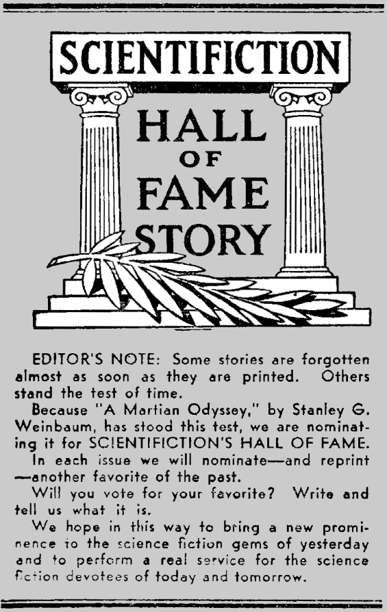 Scientifiction Hall Of Fame - Editor's Note