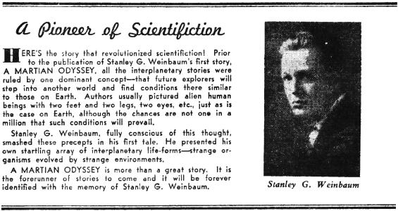 Stanley G. Weinbaum - Pioneer Of Scientifiction
