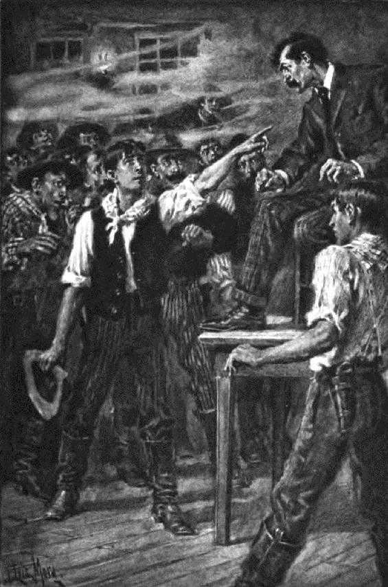 Stillman accuses Sherlock Holmes (1903) illustration by F. Luis Mora