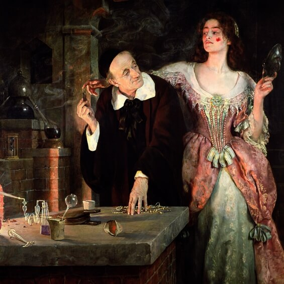"The Birth-Mark by Nathaniel Hawthorne - modified John Collier's ""Laboratory"", 1895"