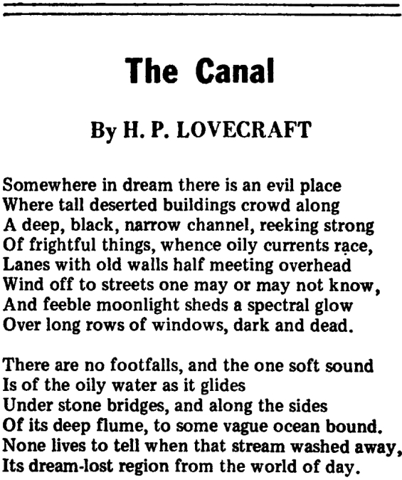 The Canal by H.P. Lovecraft