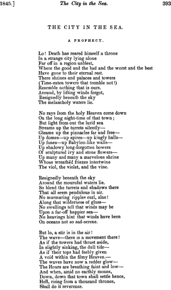 The City In The Sea: A Prophecy by Edgar Allan Poe