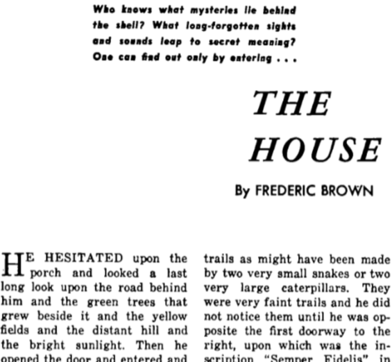 The House by Fredric Brown