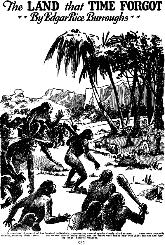 The Land That Time Forgot by Edgar Rice Burroughs - illustration from Amazing, January 1927
