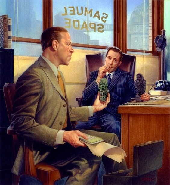 The Maltese Falcon meets The Call Of Cthulhu - illustration by DOUGLAS KLAUBA