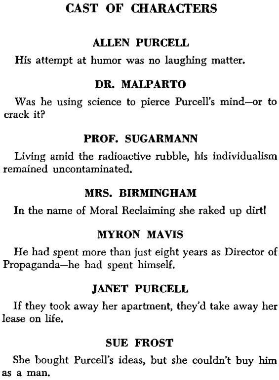 The Man Who Japed by Philip K. Dick - Cast Of Characters