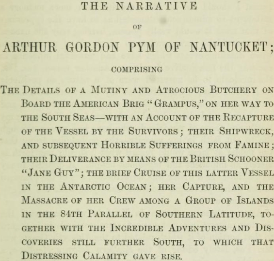 The Narrative Of Arthur Gordon Pym Of Nantucket - subtitle