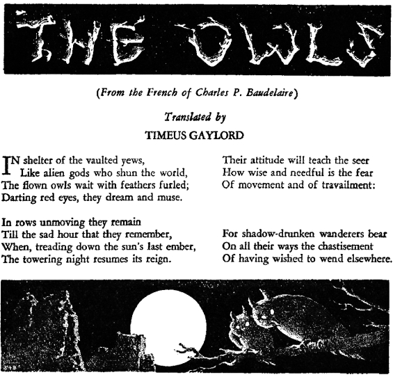 The Owls by Charles Baudelaire, translated by Clark Ashton Smith