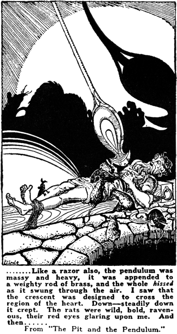 The Pit And The Pendulum - illustration from an ad in Amazing Stories, August 1928