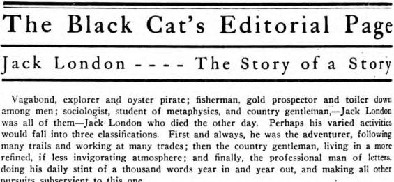 Jack London - - - - The Story Of A Story
