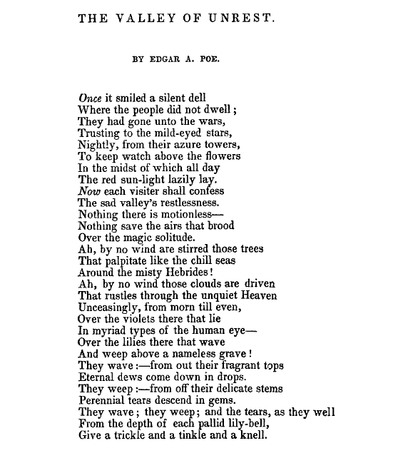 The Valley Of Unrest by Edgar A. Poe
