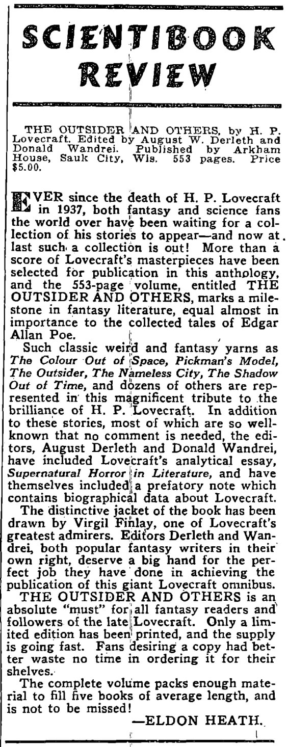 Thrilling Wonder Stories, April 1940 - Page 126 - August Derleth reviews his own book