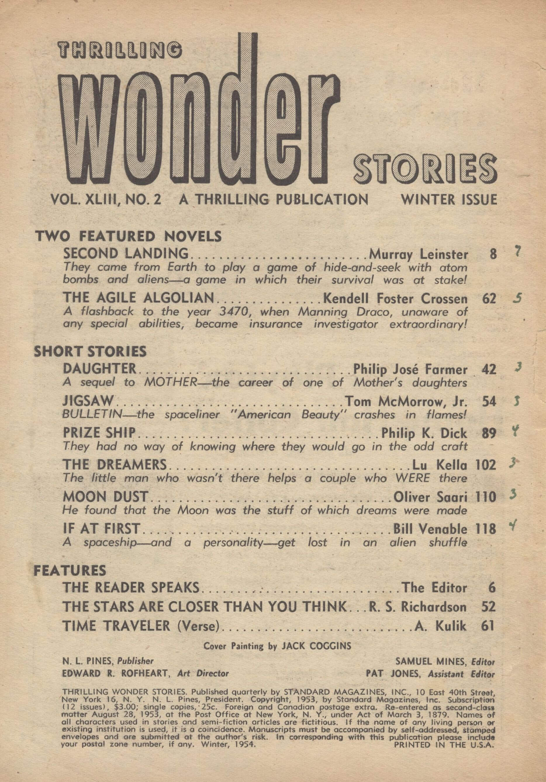 Thrilling Wonder Stories, Winter 1954 - Table of Contents
