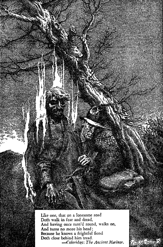 Virgil Finlay illustration of Rime Of The Ancient Mariner