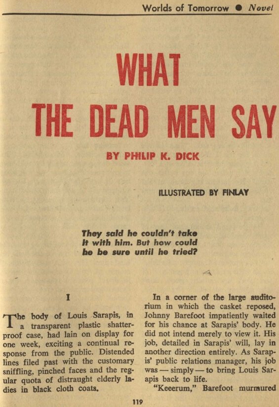 What The Dead Men Say by Philip K. Dick - illustrated by Virgil Finlay