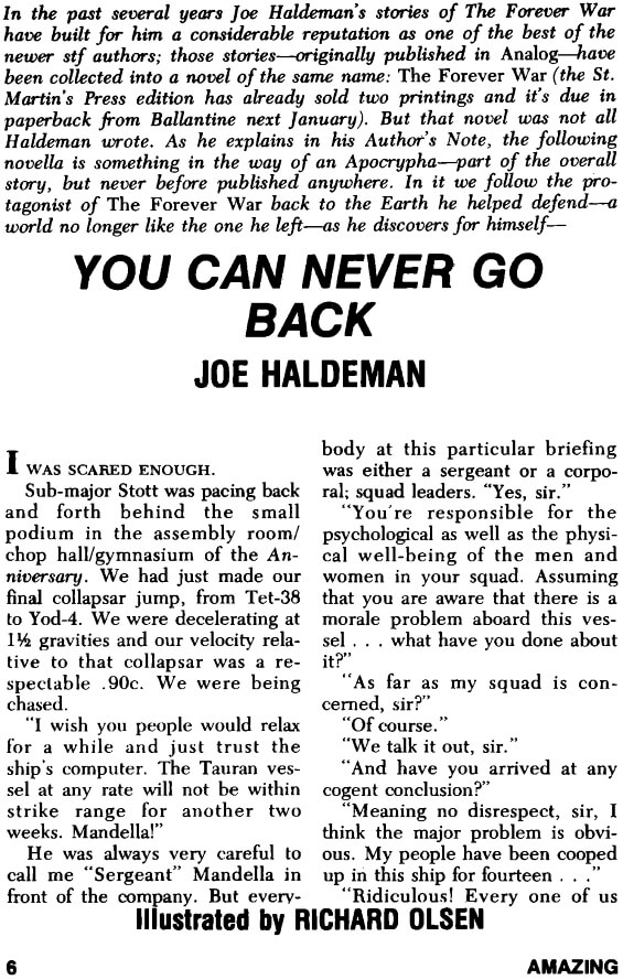 You Can Never Go Back by Joe Haldeman - Amazing, November 1975