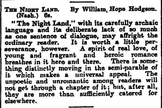 review of THE NIGHT LAND by William Hope Hodgson from The Observer, May 19th, 1912