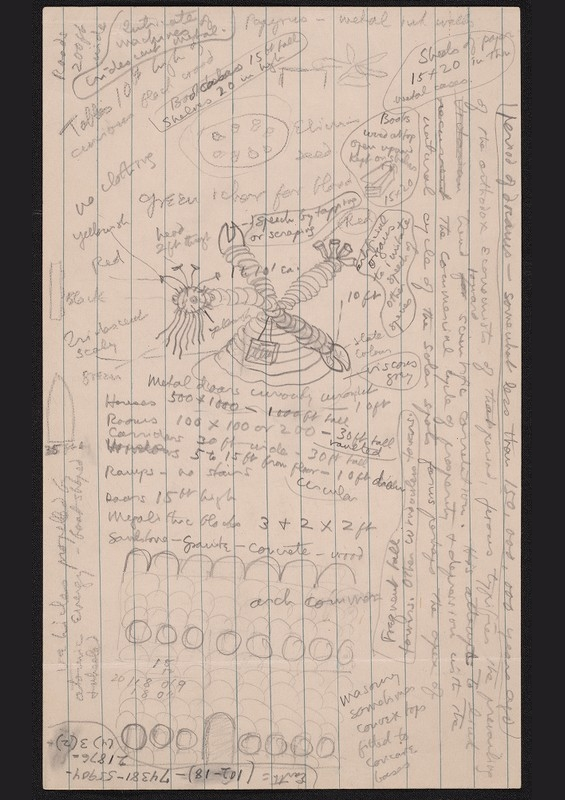 H.P. Lovecraft's story notes for The Shadow Out Of Time (includes a drawing of a Yithian!)
