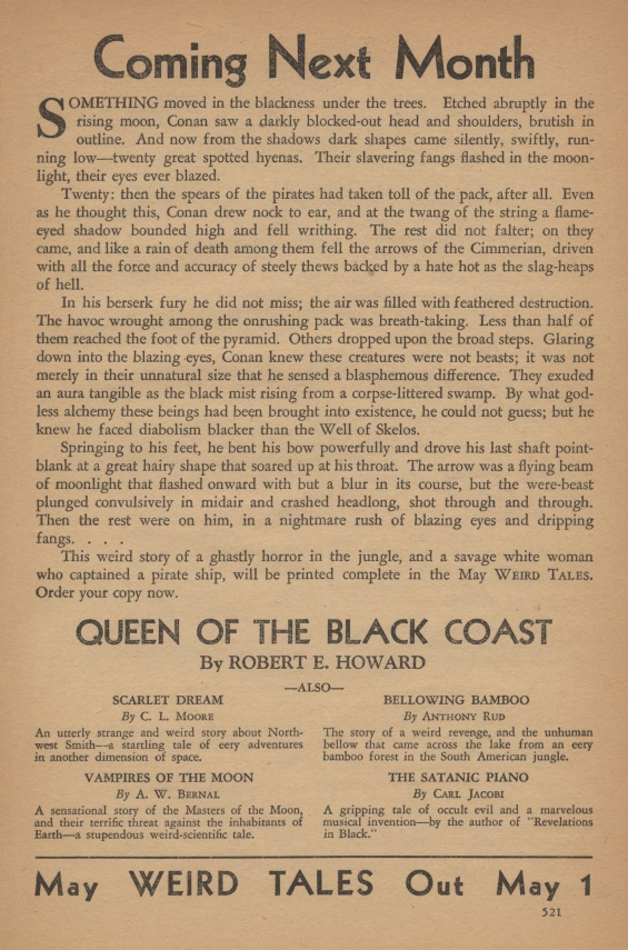 Ad for Queen Of The Black Coast by Robert E. Howard from Weird Tales, April 1934