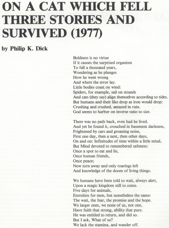 On A Cat Which Fell Three Stories And Survived by Philip K. Dick from Last Wave, Summer 1984