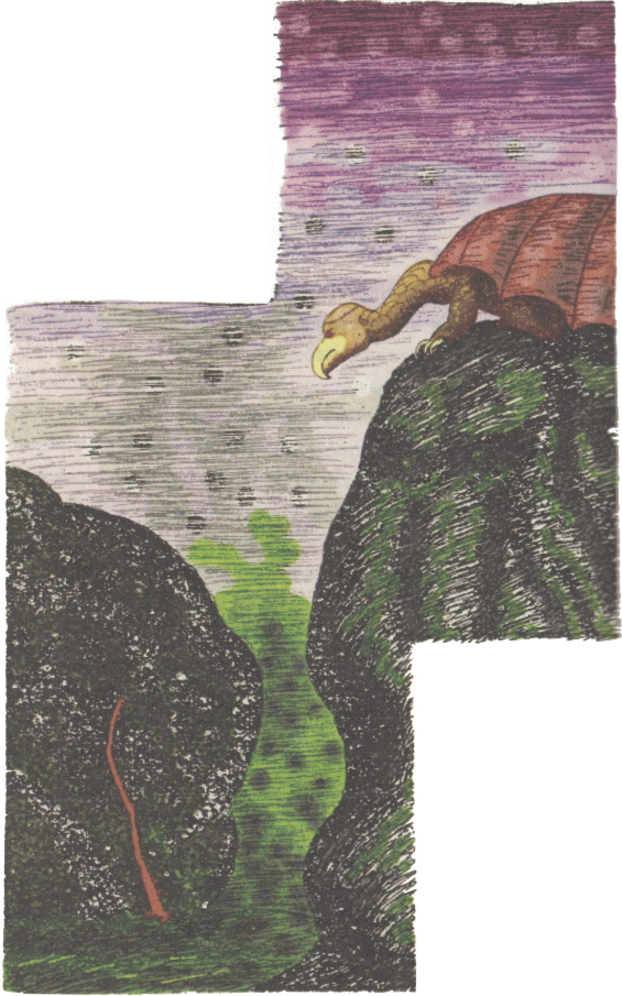 The Lurking Fear - Giant Bat Winged Gryphons illustration by Clark Ashton Smith