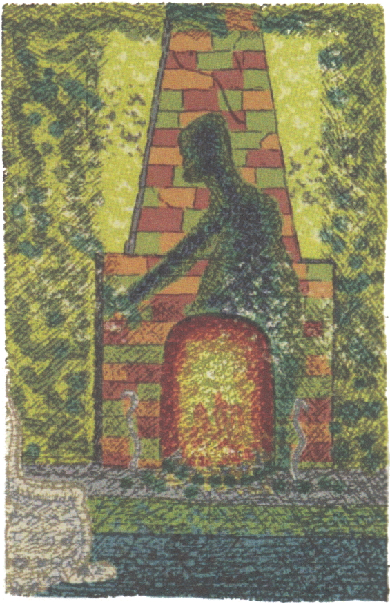 Clark Ashton Smith illustration of THE LURKING FEAR: The Shadow On The Chimney by H.P. Lovecraft