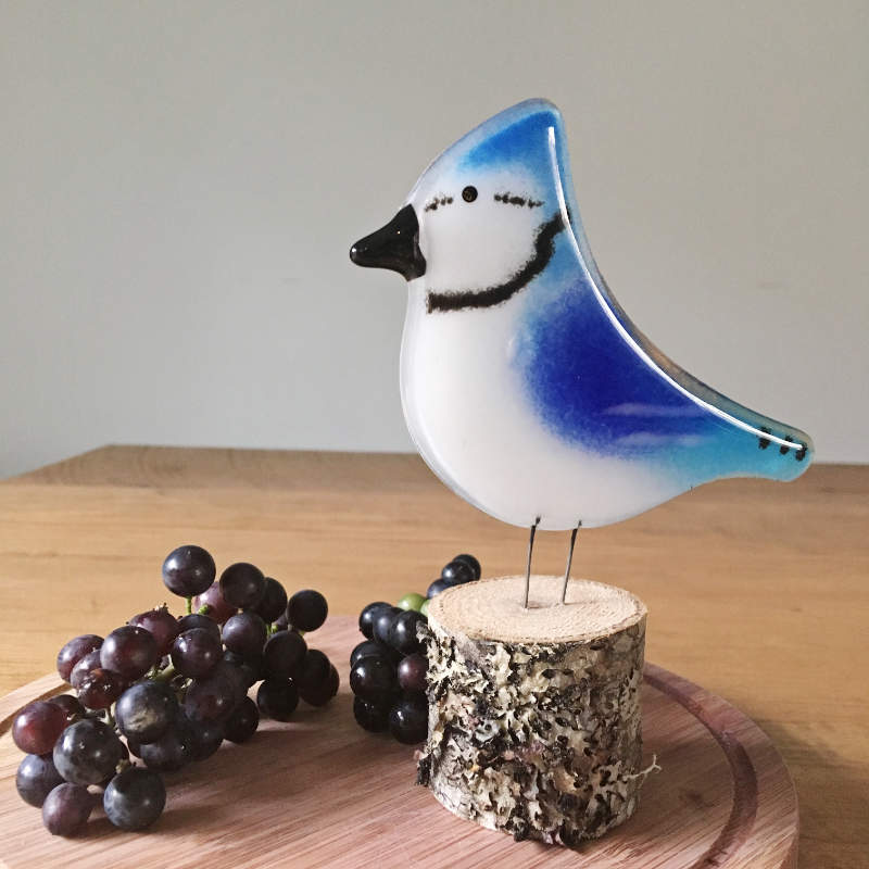 Blue Jay Glass Bird Ornament by The Glass Bakery