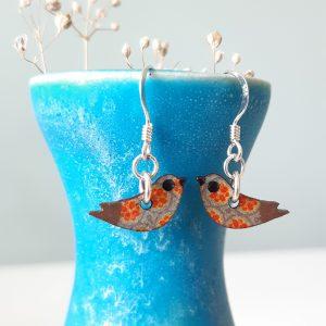 Mini Bird Red Blue Handmade