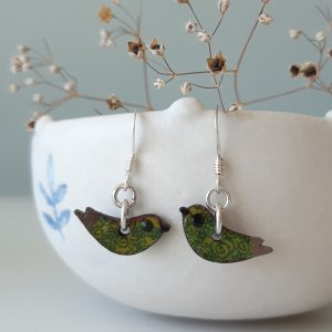 Mini Bird Wood and Sterling Silver Green Earrings