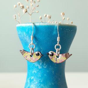 Mini Bird Moss and Purple Handmade Wood and Sterling Silver Earrings, MarMoo by Amanda Cope