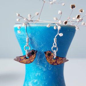 Handmade Wood Bird Earrings Purple and Mustard Pattern. MarMoo by Amanda Cope