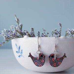 Happy Bird Earrings Wood and Sterling Silver, Handmade by Amanda Cope, MarMoo
