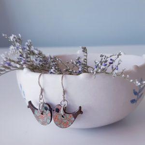 Wood Bird Earrings Handmade by Amanda Cope