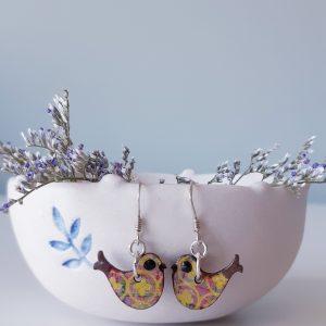 Handmade Wood Bird Earrings by Amanda Cope