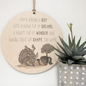 Here Sleeps A Boy With A Head Full Of Dreams, gift tag, tree ornament, wall banner