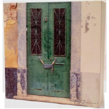 Wood Block - Portugal Door - Green