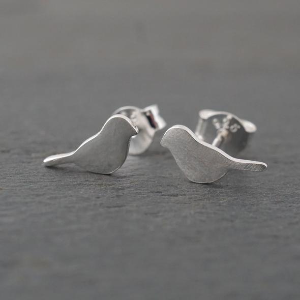 Bird studs earrings in sterling silver