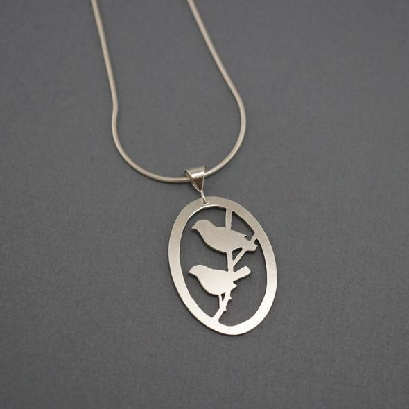 Birds on a Branch necklace by Argent whimsy Jewellery