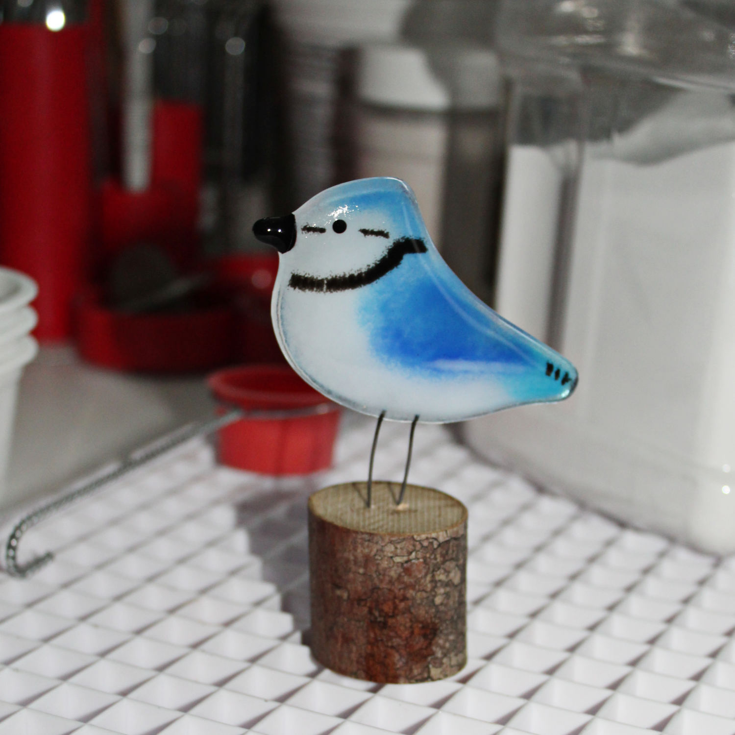 Blue and White Glass Blue Jay Chick