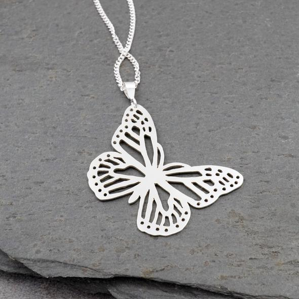 Butterfly Pendant in sterling silver by Argent Whimsy Jewellery