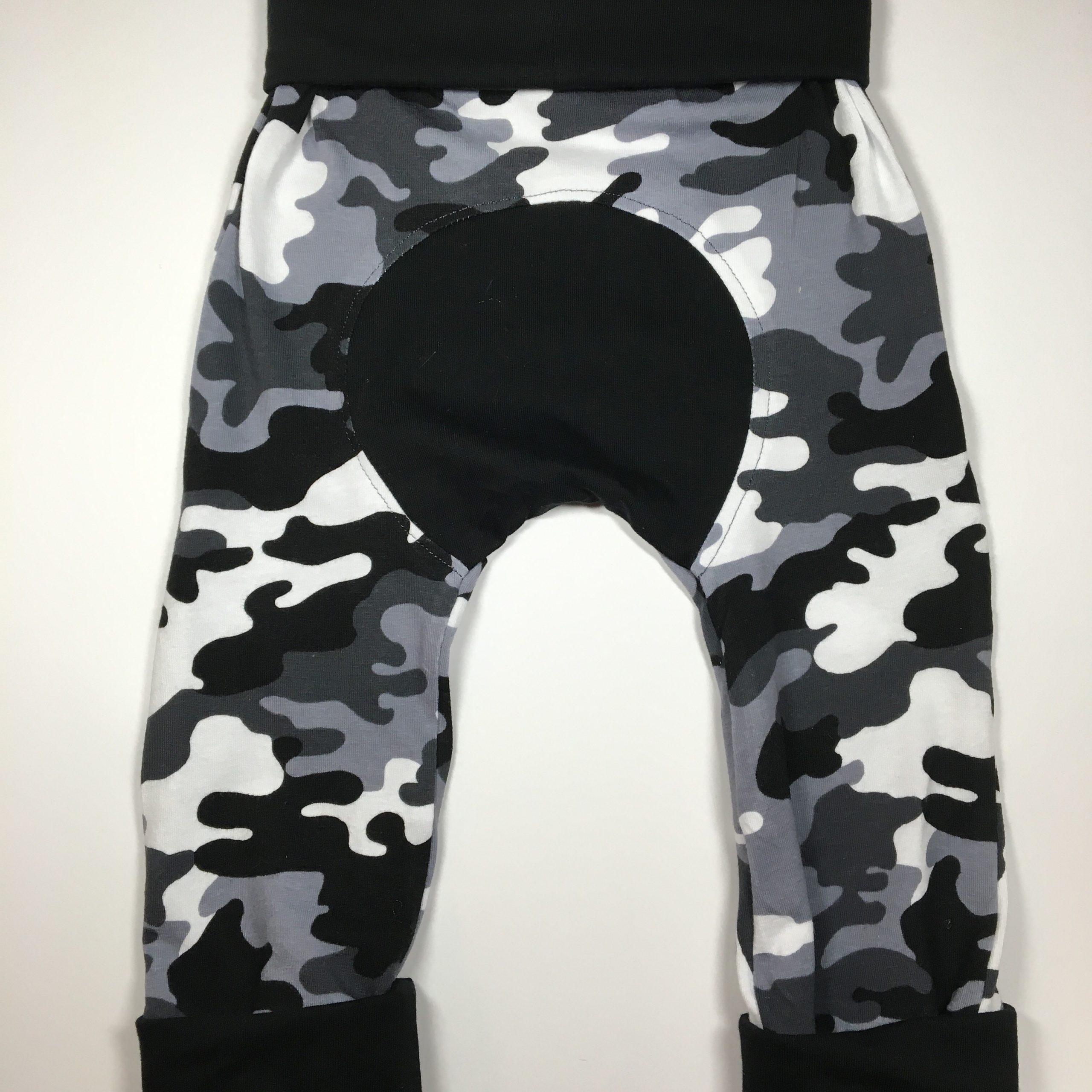 Black camo camouflage grow along pants adjustable fit