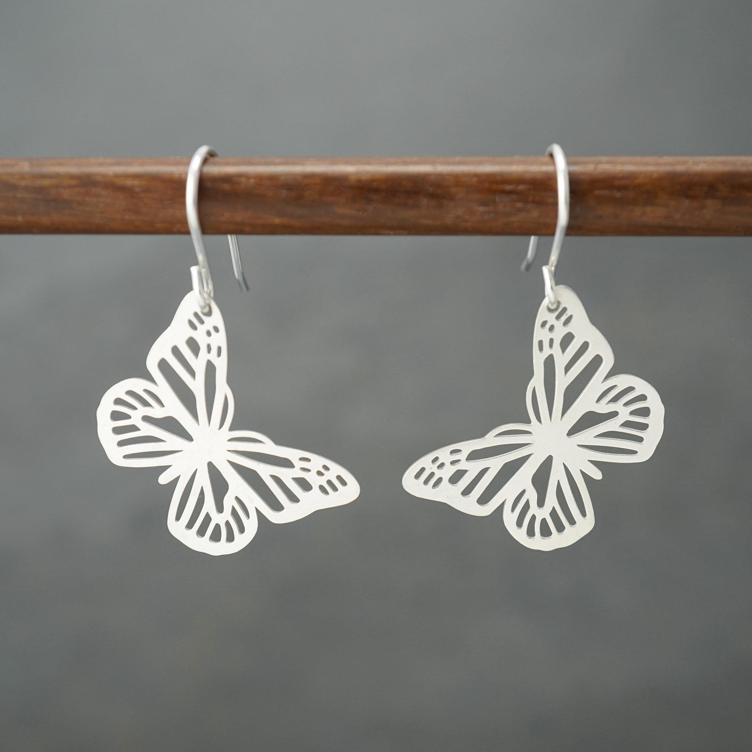 Butterfly drop earrings by Argent Whimsy Jewellery